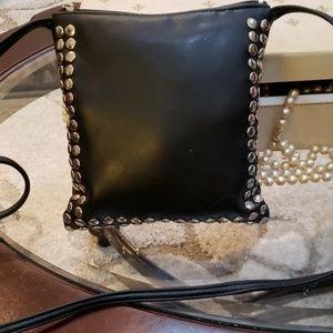 Black small shoulder square studded leather bag